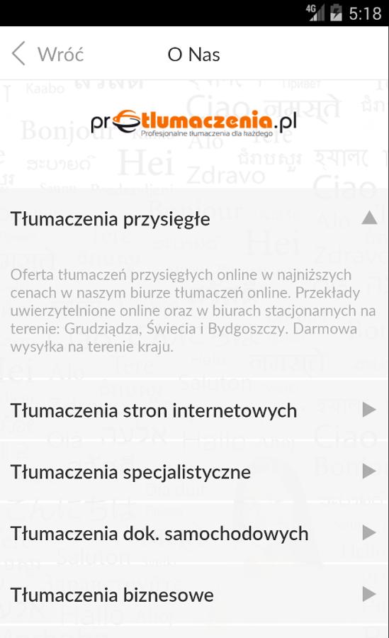 Kieszonkowe biuro tłumaczeń online na Androida